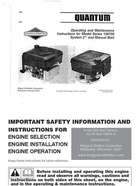 Briggs And Stratton Quantum 35 Manual