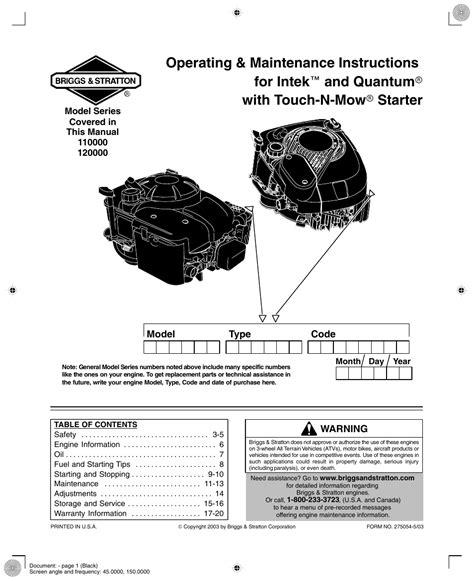 Briggs And Stratton Quantum Service Manual