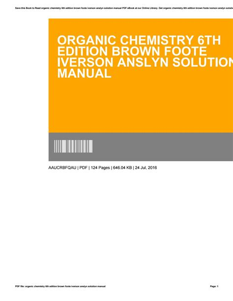 Brown Organic Chemistry Solution Manual