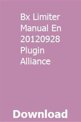 Bx Limiter Manual En 20120928 Plugin Alliance