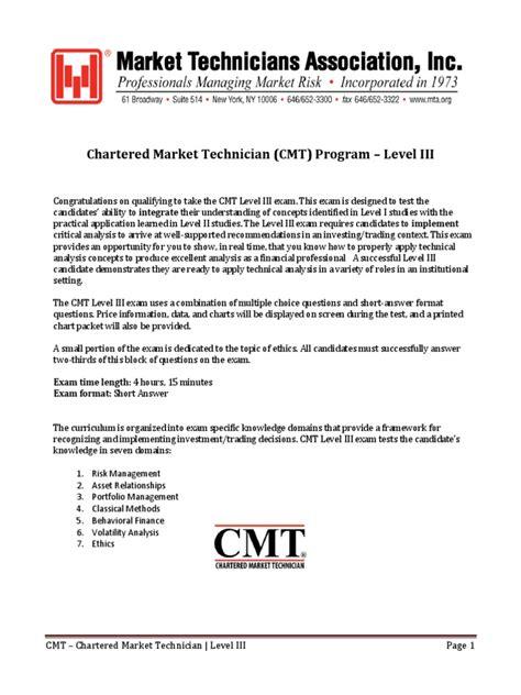 CMT-Level-III Exam Papers