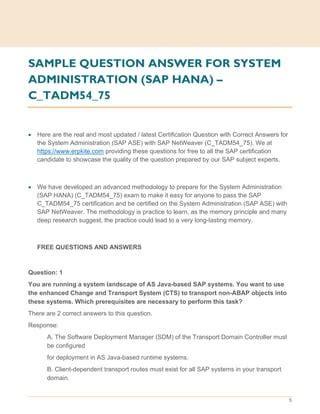 C_TADM54_75 Latest Exam Answers