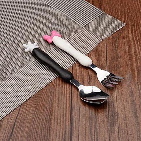 Calistouk Acier Inoxydable Mignon Dessin Anime Enfants Vaisselle Cuillere Fourchette Ustensile De Cuisine Pour Bebe Enfantandquot