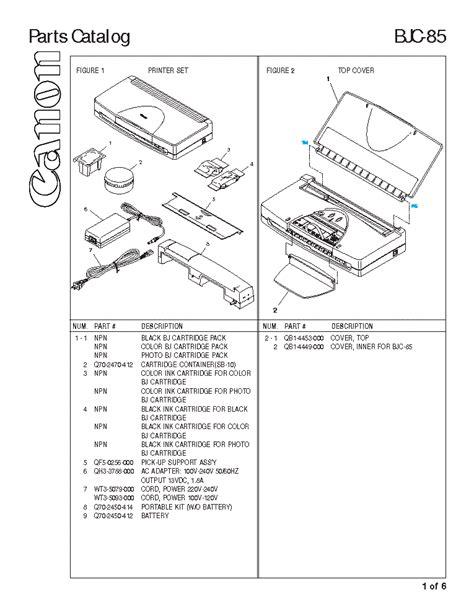 Canon Bjc 85 Parts Manual