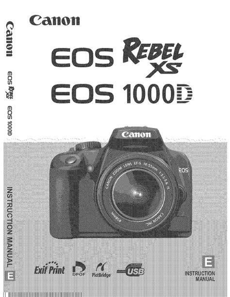 Canon Eos Rebel Xs Instruction Manual