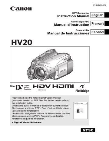 Canon Hv20 User Manual