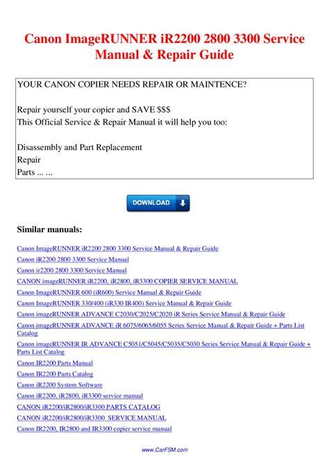 Canon Ir 2800 Parts Manual