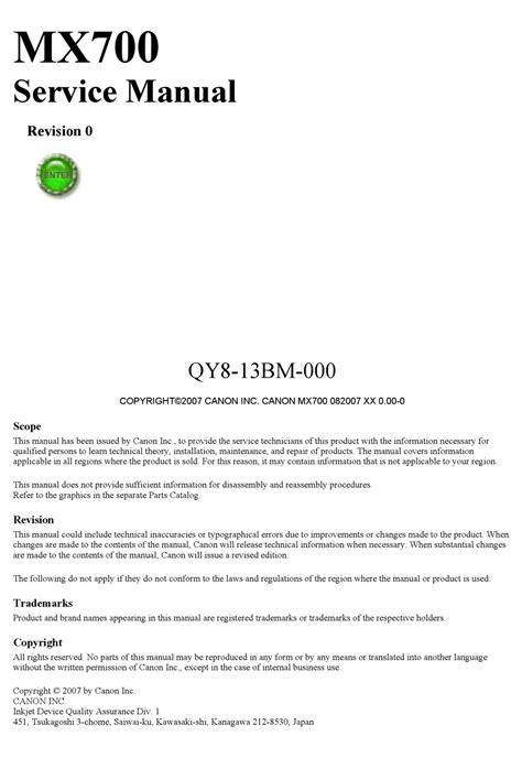 Canon Mx700 Repair Service Manual