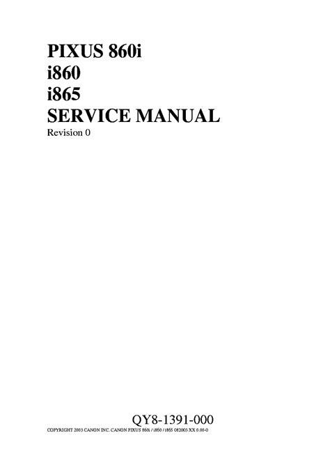 Canon Pixus 860i Printer Service Repair Manual