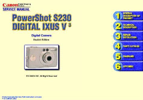 Canon Powershot S230 Ixus V3 Digital Camera Service Repair Parts List Manual