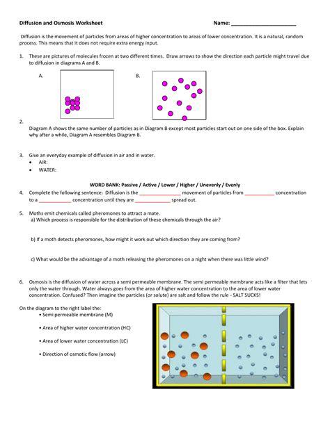 Carolina Student Guide Osmosis Diffusion Answers