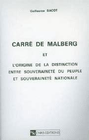 Carre De Malberg Et Lorigine De La Distinction Entre Souverainete Du Peuple