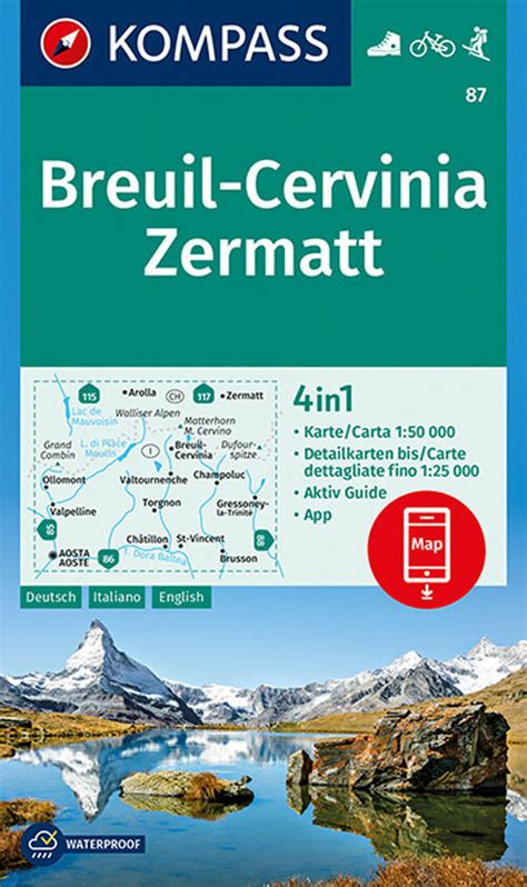 Carta Escursionistica N 87 Breuil Cervinia Zermatt 1 50 000 Ediz Multilingue
