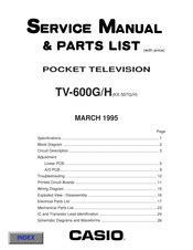 Casio Tv 600g H Pocket Television 1995 Repair Manual Parts List