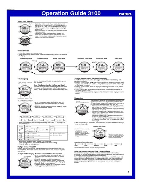 Casio Watches Instruction Manual