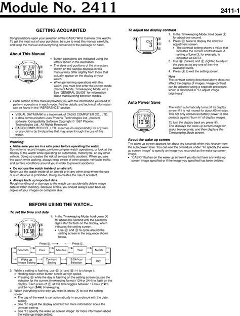 Casio Wrist Camera Watch Manual