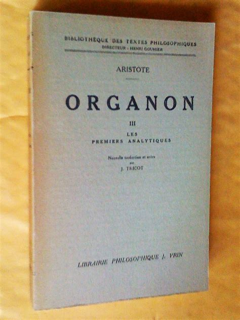 Categories Et De L Interpretation Organon I Et Ii