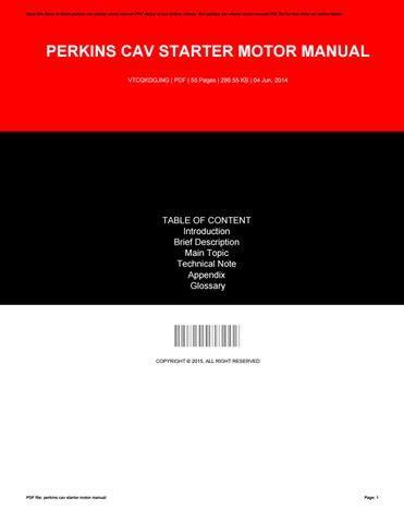Cav Starter Motor Manual