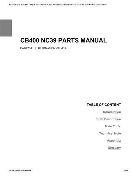 Cb400 Nc39 Service Manual
