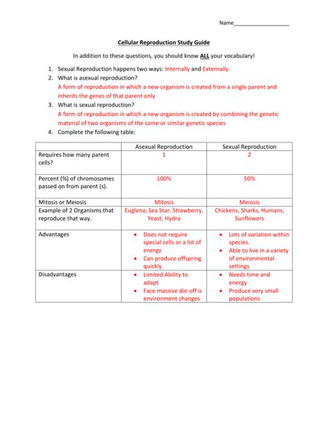 Cell Reproduction Study Guide Answer Key