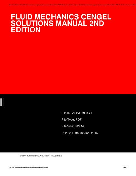 Cengel Fluid Mechanics Solutions Manual 2nd