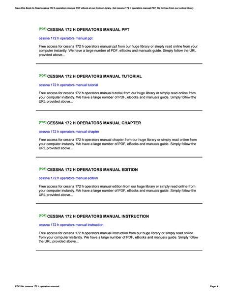 Cessna 172 H Operators Manual