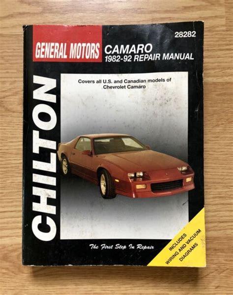 Ch28282 Chilton Chevrolet Camaro 1982 1992 Repair Manual