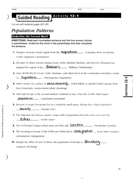 Chapter 14 Section 1 Guided Reading Answers