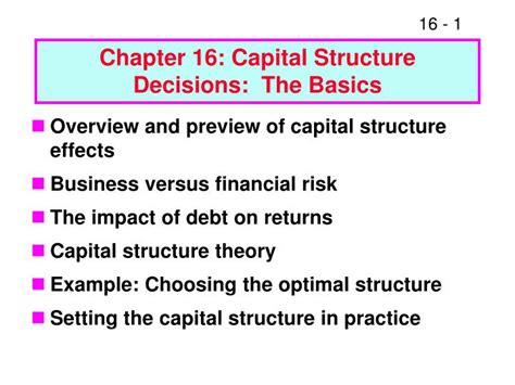 Chapter 16 Capital Structure Decisions The Basics