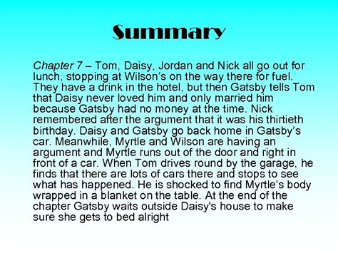 Chapter 7 The Great Gatsby Summary