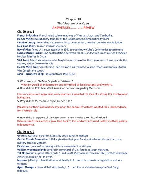 Chapter Vietnam Study Guide Answer Key