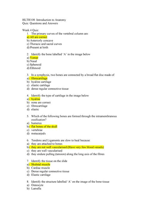 Characteristics Anatomy Questions And Answers
