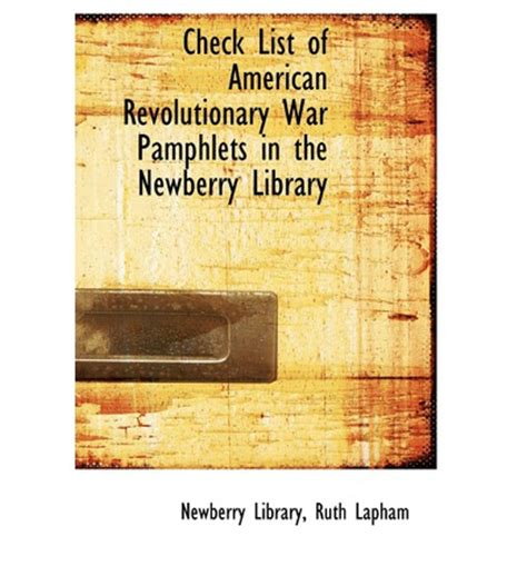 Check List Of Revolutionary War Pamphlets