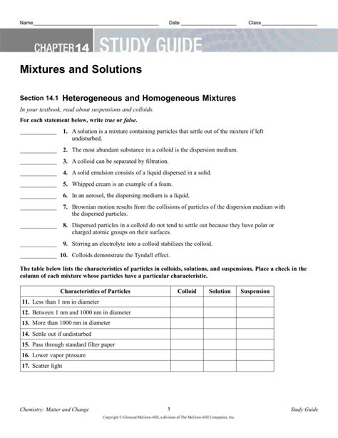 Chemistry Chapter 14 Study Guide For Content Mastery Answers