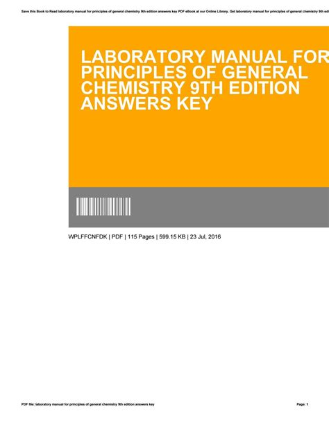 Chemistry Laboratory Manual 9th Edition Solution
