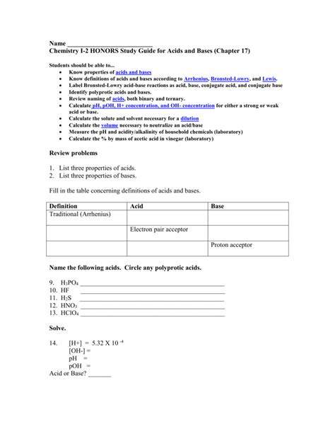 Chemistry Study Guide Acid And Bases Answers