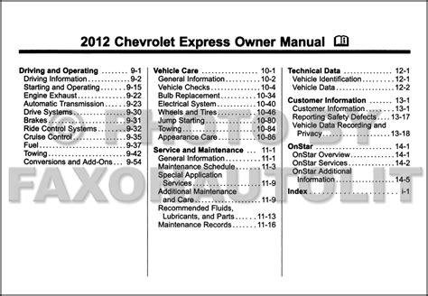 Chevrolet Express Van Owner Manual