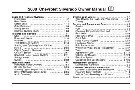 Chevrolet Silverado Owner Manual 2008