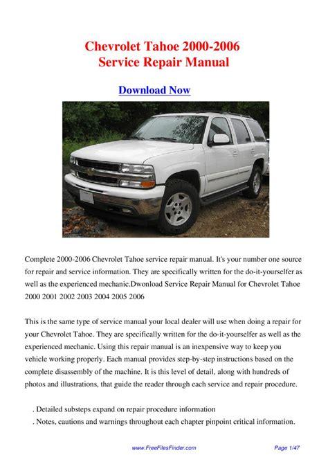 Chevrolet Tahoe Service Repair Manual 2018