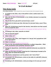 Civil Action Movie Guide Answer Key