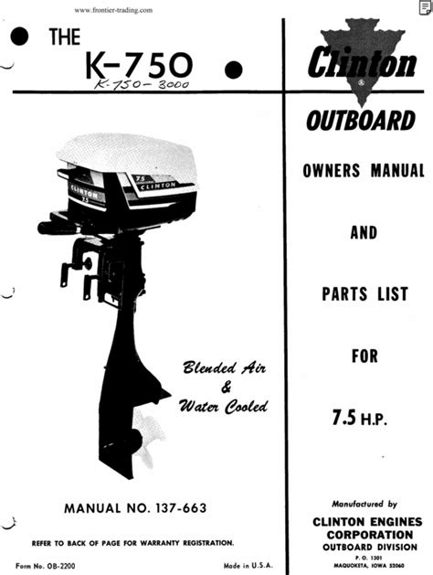 Clinton K201 Outboard Owners Parts Manual