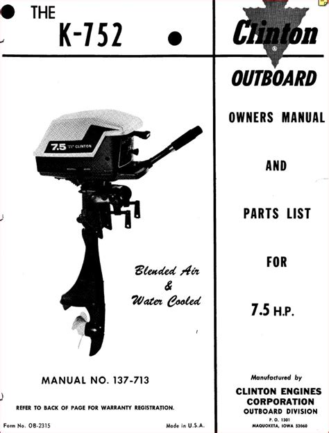 Clinton Outboard K752 75 Hp Owners Parts Manual