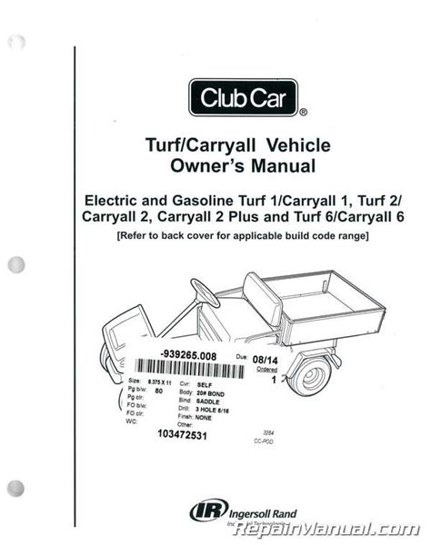 Club Car Turf 2 Carryall Manuals