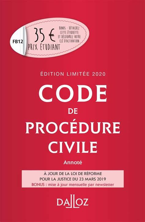 Code De Procedure Civile 2020 Annote Edition Limitee 111e Ed Codes Dalloz Universitaires Et Professionnels