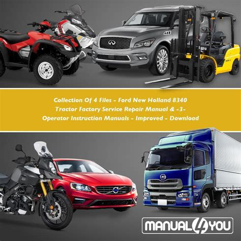 Collection Of 4 Files Ford New Holland 8340 Tractor Factory Service Repair Manual 3 Operator Instruction Manual Improve