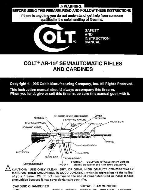 Colt M2015sa308 Owners Manuals