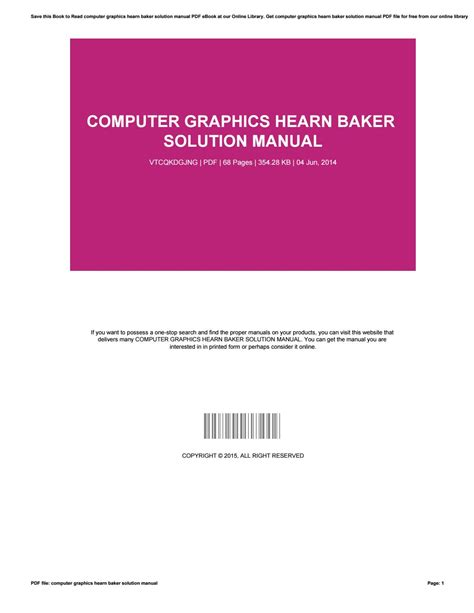 Computer Graphics Solution Manual Hearn And Baker