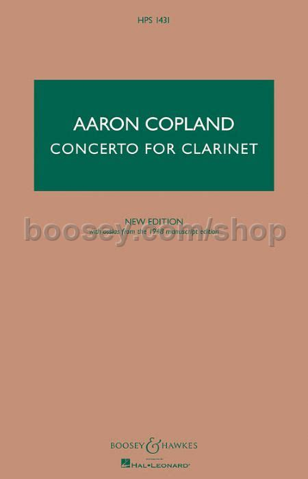 Concerto For Clarinet New Edition Clarinet And String Orchestra With Harp And Piano Hawkes Pocket Scores Hps 1431