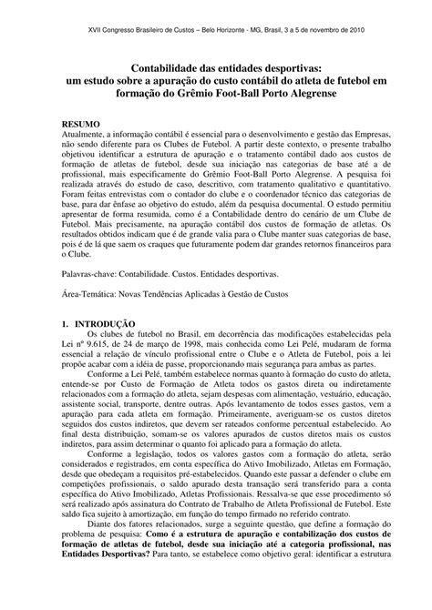 Contabilidade das entidades desportivas: Um estudo sobre a apuração do custo contábil do atleta de futebol em formação do Grêmio Foot-Ball Porto Alegrense