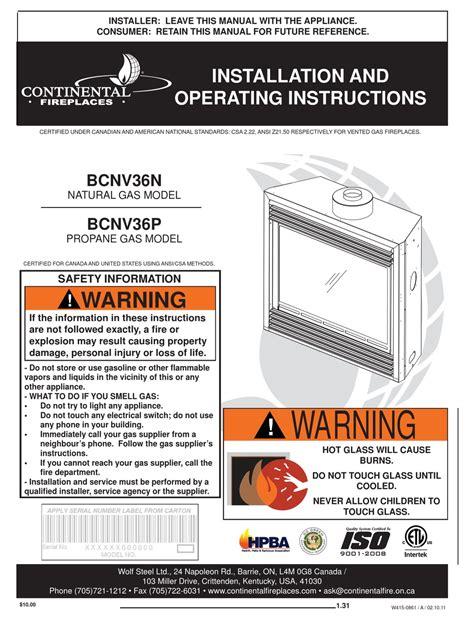 Continental Fireplace Manual